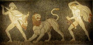 Chasse au lion sur une mosaïque de Pella.